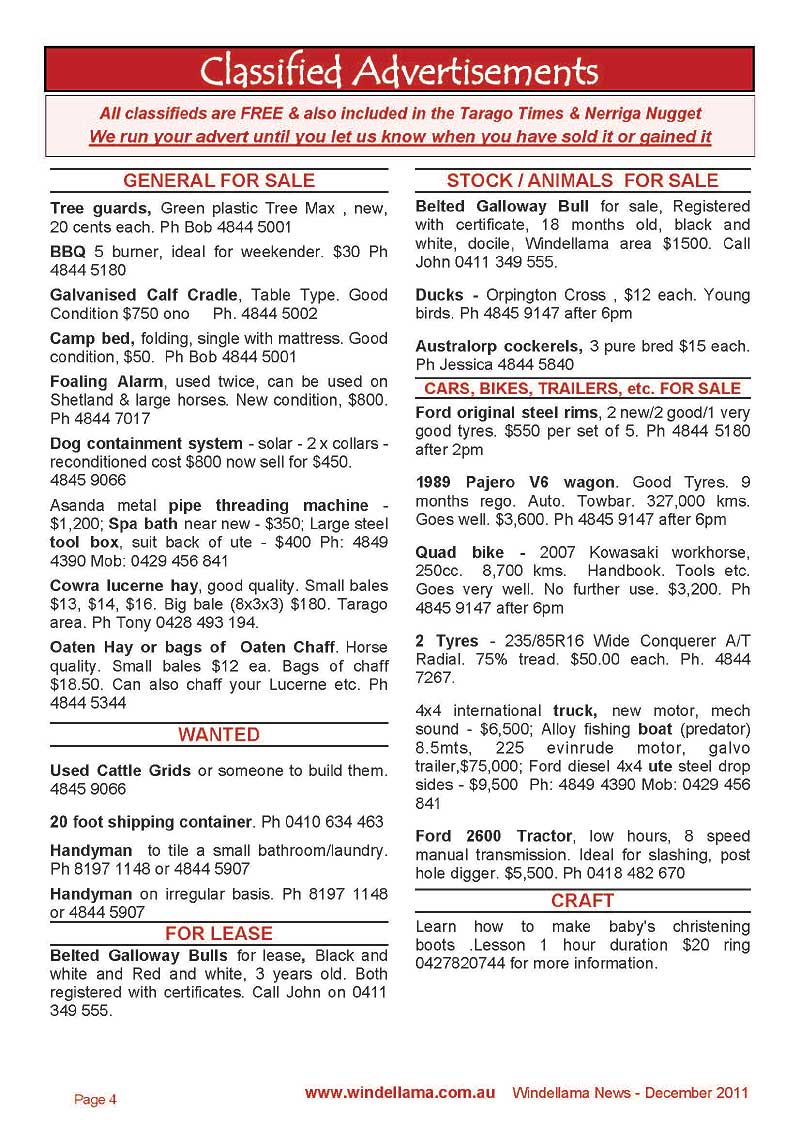 Windellama Community Website - Windellama News --> HOMEPAGE